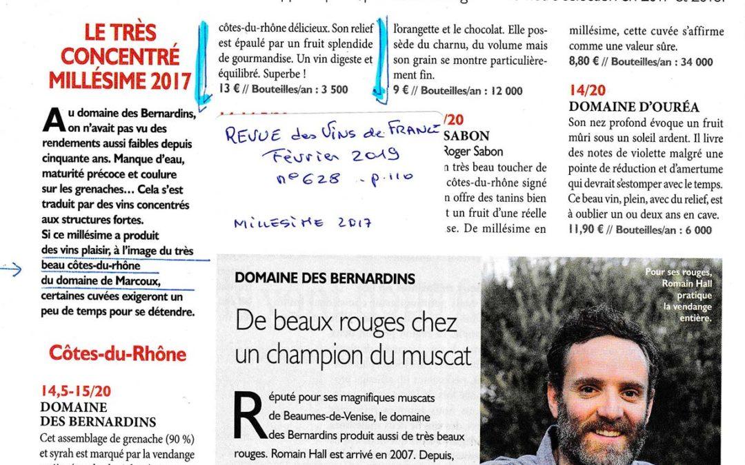 Revue du Vin de France – Millésime : 2017